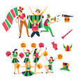 cheerleaders and fans buffs supporting football vector image