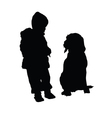 child with dog silhouette vector image