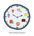 Clock with elements inside concept time management vector image vector image