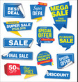 collection of blue sale stickers and tags corners vector image