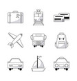 collection travel world transport equipment vector image