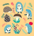 cute hedgehog forest animals set vector image vector image