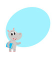 cute little hippo student character standing with vector image vector image