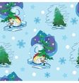 Cute Snowmen Under Christmas Trees Seamless vector image