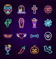 dia de los muertos neon icons vector image