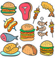 doodle of food delicious various vector image vector image