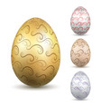 easter egg 3d icon ornate silver eggs set vector image vector image