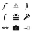 electrical engineer icons set simple style vector image vector image