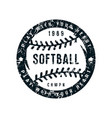 emblem of softball championship vector image vector image