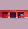 fire station garage with red truck leaving box vector image vector image