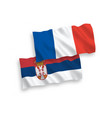 flags france and serbia on a white background vector image