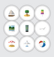 flat icon beach set of yacht reminders aircraft vector image vector image