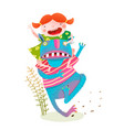 fun baby girl riding playing fairy tale monster vector image