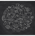 Hand drawn food ring label sketch chalk board vector image vector image