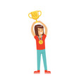 happy athletes girl with a first place medal vector image vector image