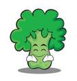 happy broccoli chracter cartoon style vector image