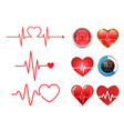 Heartbeat icon set and electrocardiogram