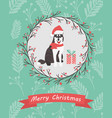 holiday card with twigs and berries ornament and vector image vector image
