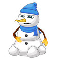 hungry snowman on white background vector image vector image