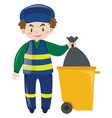 janitor throwing away garbage vector image