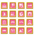 logistic icons pink vector image vector image