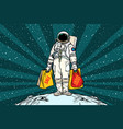 lone retro astronaut with a sale shopping bags vector image vector image