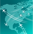 Map of North America with airplanes vector image