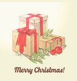 merry christmas hand drawn greeting card vector image