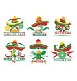 mexican fast food logo set vector image