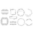 minimal doodle line logo wreath with calligraphy vector image