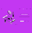 mobile repair - line design style isometric web vector image