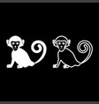 monkey icon set white color flat style simple vector image