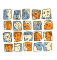 people abstract faces avatars characters icons set vector image vector image