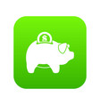 pig money box icon digital green vector image