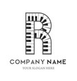 r letter logo design piano keyboard logo vector image vector image