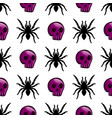 seamless pattern with color skulls and spider vector image