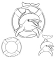 set dolphin logo design element vector image vector image