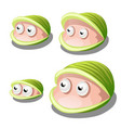 set of cartoon bivalves shellfish with eyes vector image