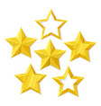 set of flat metallic golden stars vector image