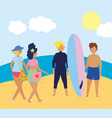 summer people activities people with swimsuits vector image