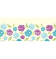 Textured painted flower horizontal seamless vector image