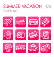 Traveling icon set summer vacation