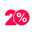 twenty percent off discount or offer label vector image vector image