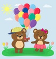 two brown bears with balloons in the summer glade vector image vector image
