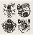 vintage monochrome custom motorcycle badges vector image vector image