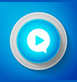 white play in circle icon on blue background vector image vector image