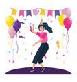 woman cartoon in a party design vector image vector image