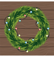 wreath christmas tree branches with a garland vector image vector image