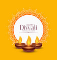 yellow diwali festival greeting design with three vector image vector image