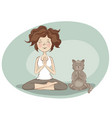 young woman and cat practicing yoga vector image